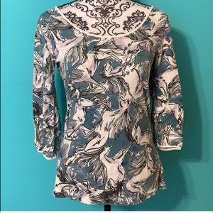Anthropologie Postage Horse Tie Blouse Top